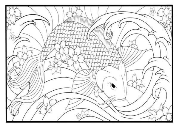 koi fish coloring pages # 20