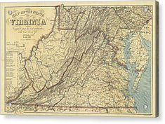 Map Of Virginia Civil War Era   1863 Drawing by Sailor Keddy Map Of Virginia Civil War Era   1863 Acrylic Print by Sailor Keddy