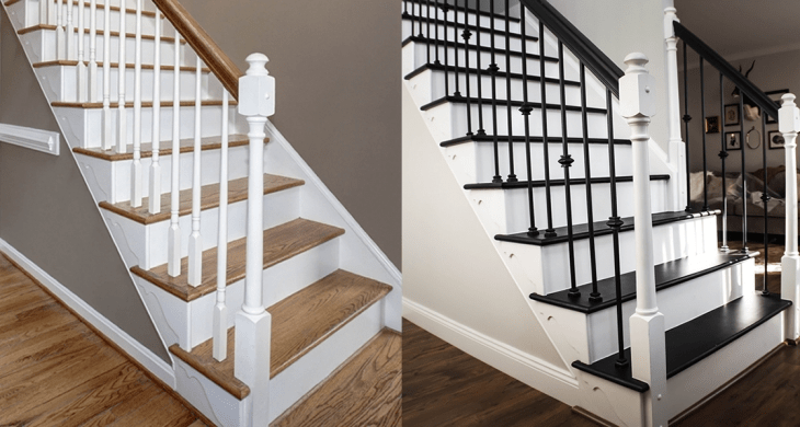 Painting Old Oak Staircase Black A Renovation Story | Oak Steps For Stairs | Wood Floor | Iron Baluster | Rounded | Stained | Closed Tread