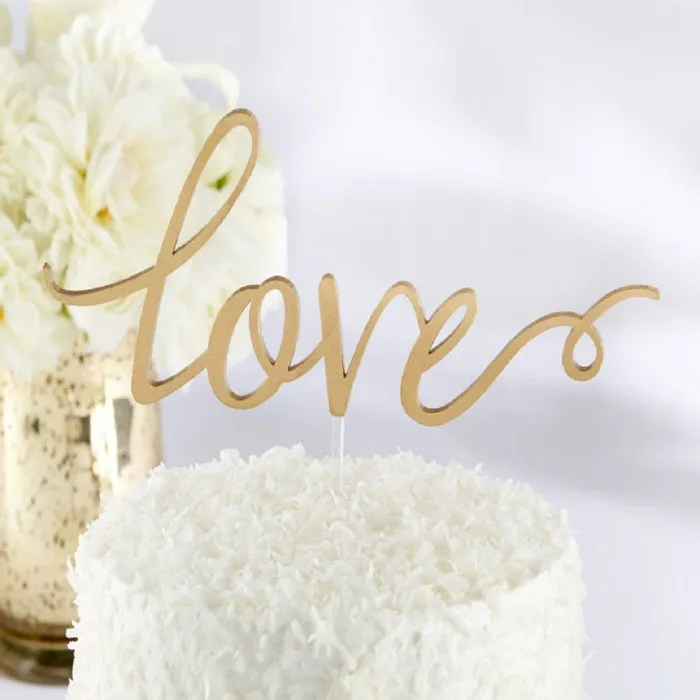Gold Love Wedding Cake Topper   Exclusively Weddings
