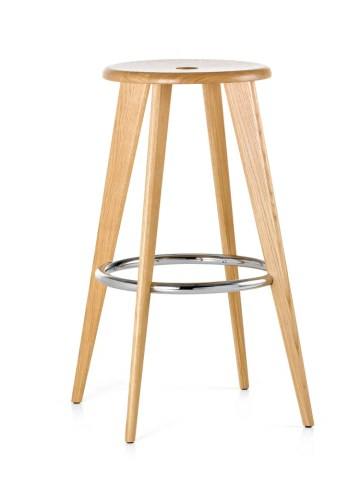 Tabouret Haut Bar Stool 1 Natural Solid Oak by Jean Prouv     for Vitra