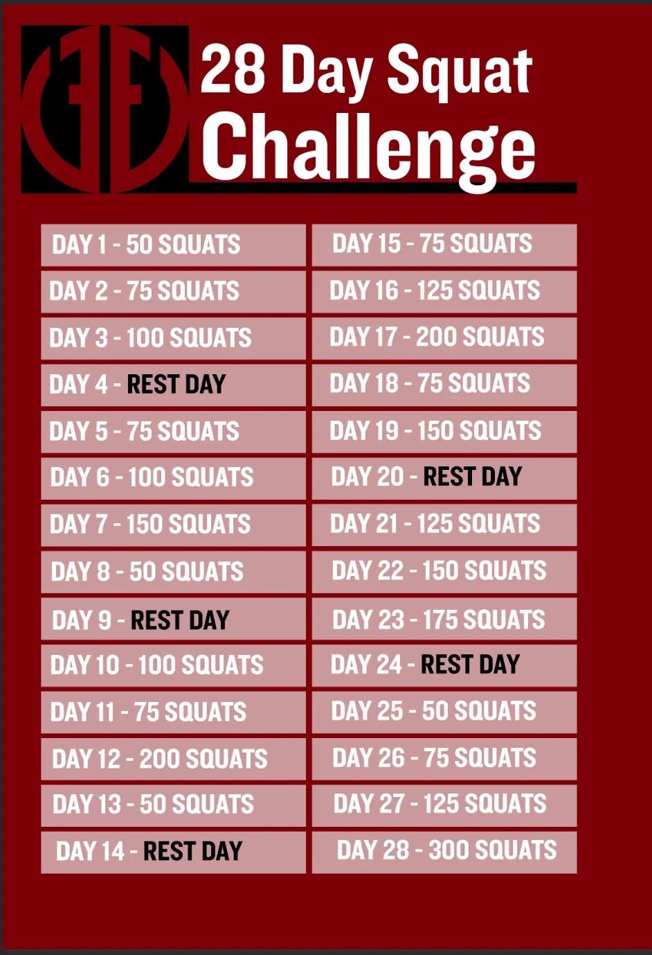 February 28 Day Squat Challenge