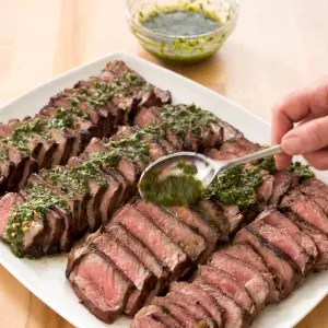 Charcoal Grilled Argentine Steaks with Chimichurri Sauce   Cook s     Charcoal Grilled Argentine Steaks with Chimichurri Sauce   Cook s  Illustrated