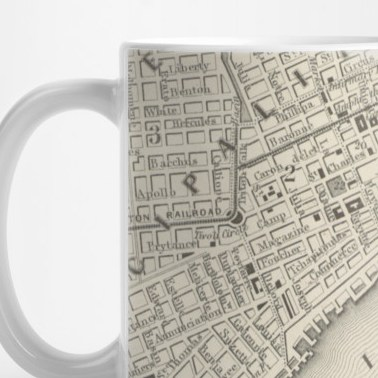 HD Decor Images » Vintage Map of New Orleans LA  1866    New Orleans Map   Mug   TeePublic 2880954 0