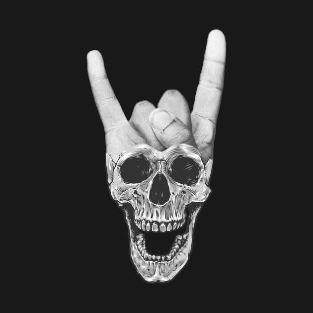 Black White Devil Hand Horns And
