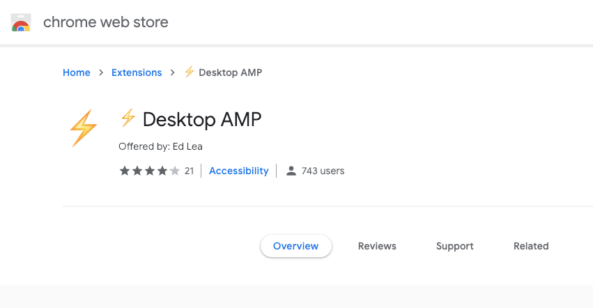 AMP Desktop Chrome Web Store App
