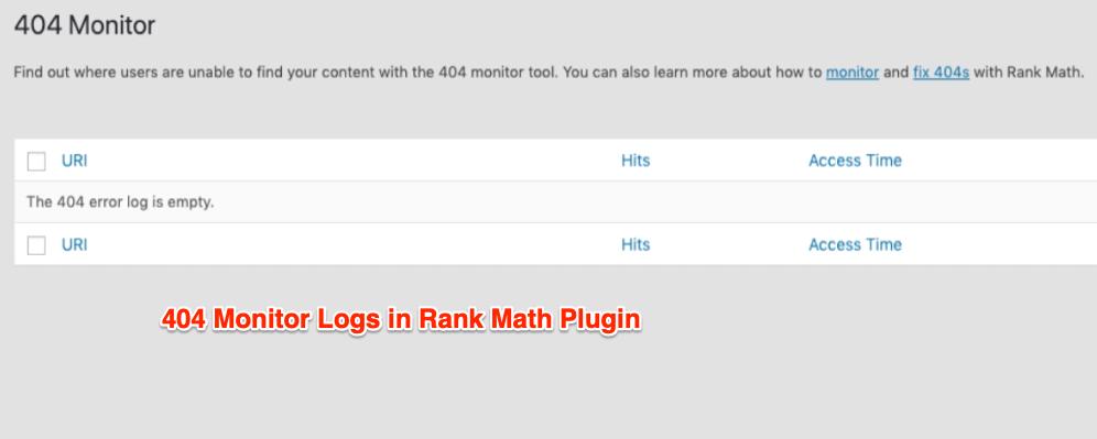 404 Monitor Logs in Rank Math Plugin
