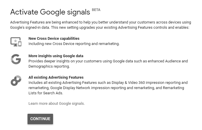 Activate Google Signals Page
