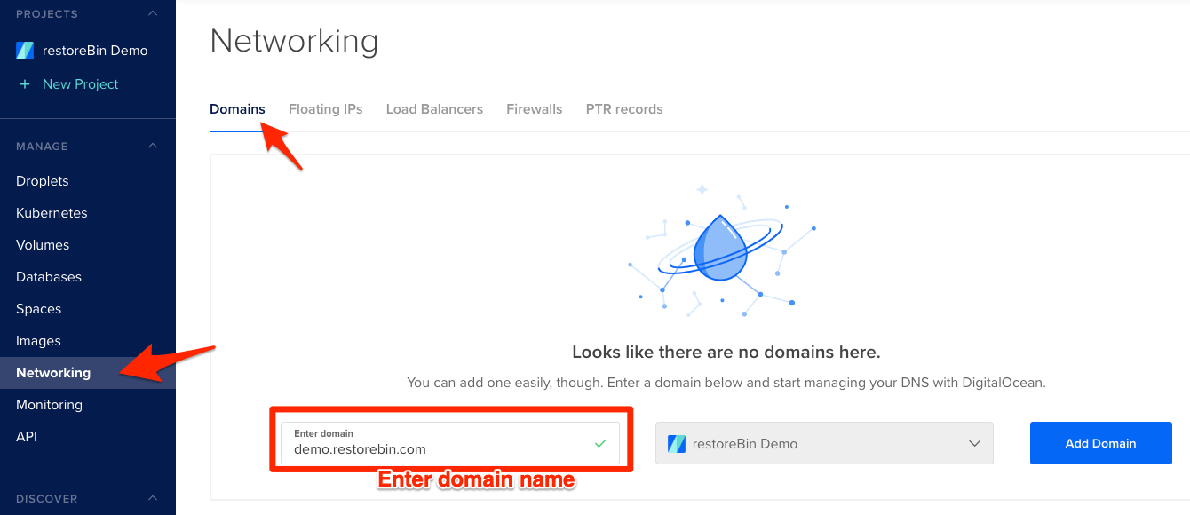 Adding Domain Name in DigitalOcean Droplet