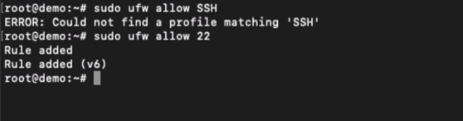 Allow Port 22 connection with Firewall