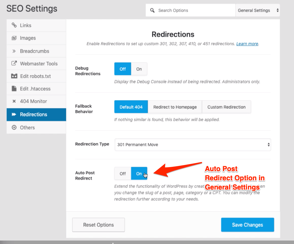 Auto Post Redirect Option in General Settings Rank Math