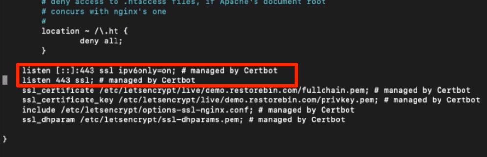 Certbot configuration default for SSL Certificate