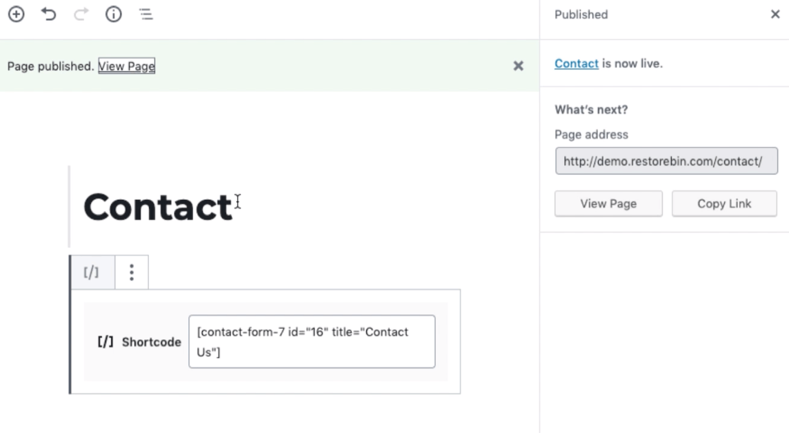 Contact Form 7 Shortccode Published in WordPress Page