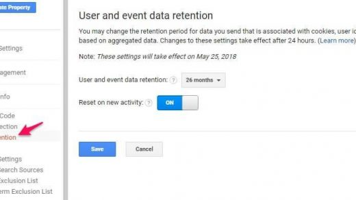 User and Event Data Retention: best set up for Google Analytics 2