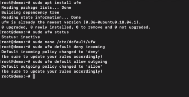 Default Policies for UFW connections