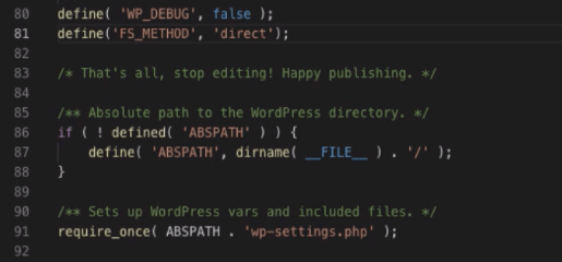 FS_METHOD direct defined in WordPress wp-config.php file