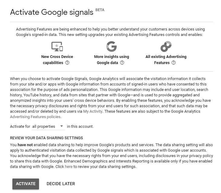 Final Activate Google Signals