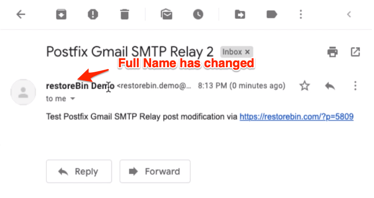 Full Name or Display change in Postfix mail