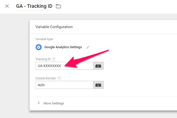 GTM Variable Setting for GA Tracking ID