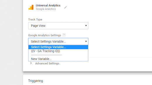Setup a Google Analytics Tracking ID variable in GTM permanently 2