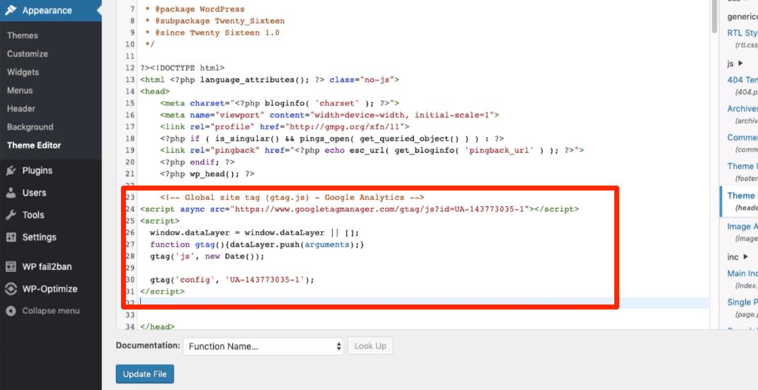 Google Analytics Tracking Code in WordPress header.php file