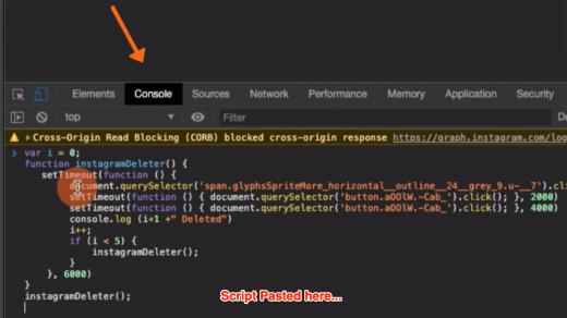 Instagram Purger Script in Developer Console