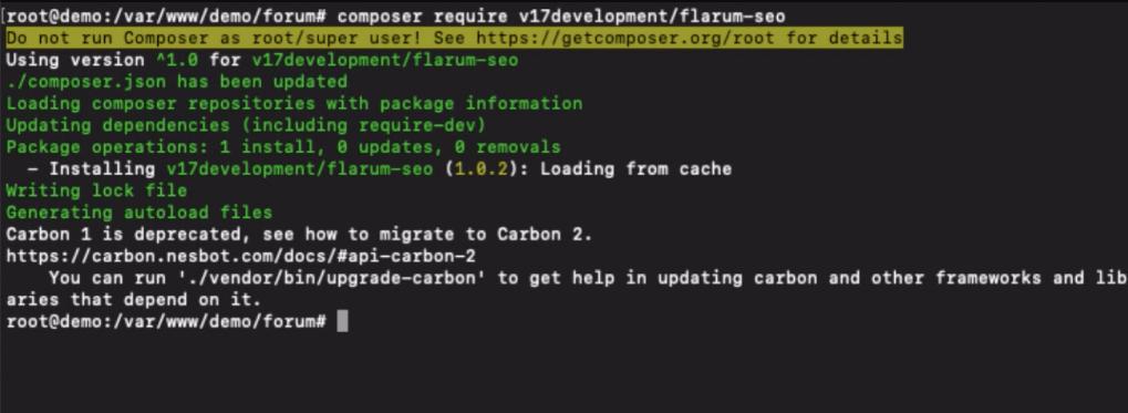 Install Flarum Extensions - Flarum SEO