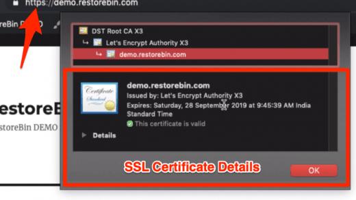 Let's Encrypt SSL Certificate Details