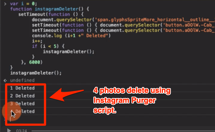 Number of Instagram Photos using script