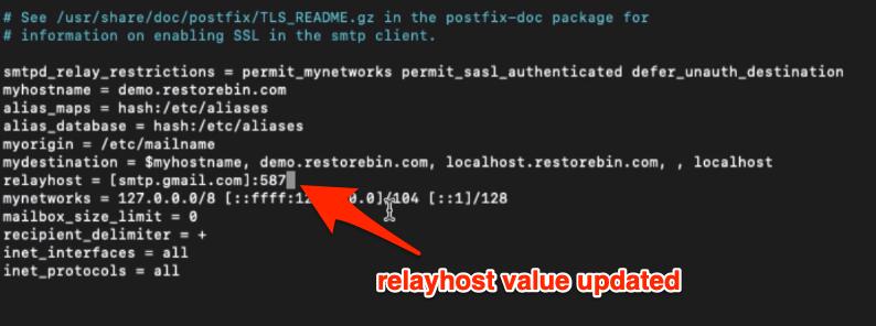 Postfix main.cf file updating relayhost