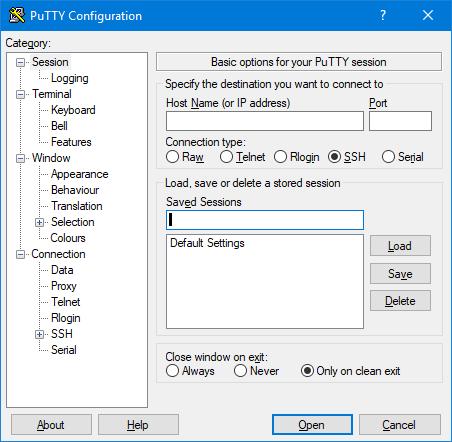 PuTTY on Windows OS