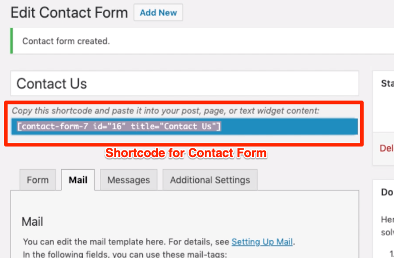Shortcode for Contact Form