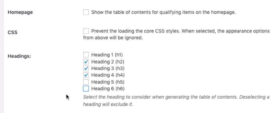 Table of Contents Plugin Header Selection