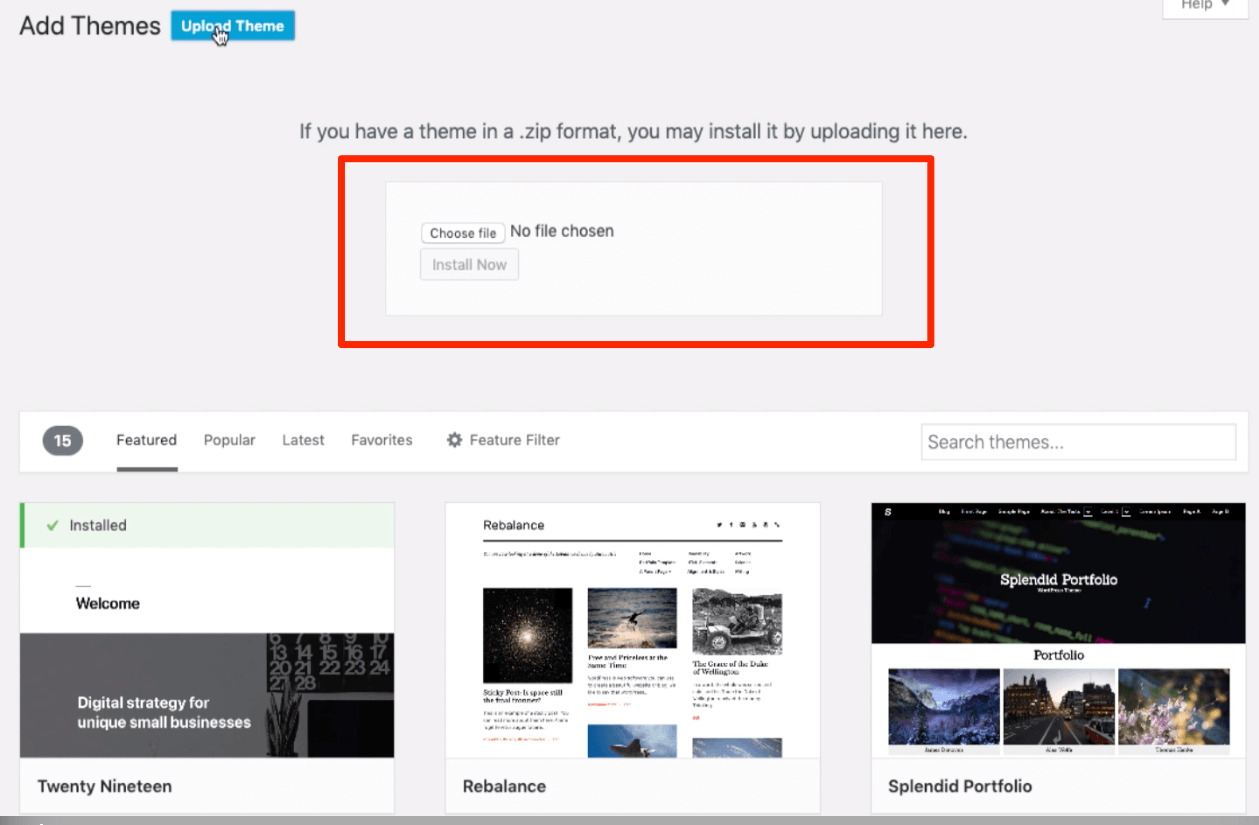 Upload New WordPress Theme