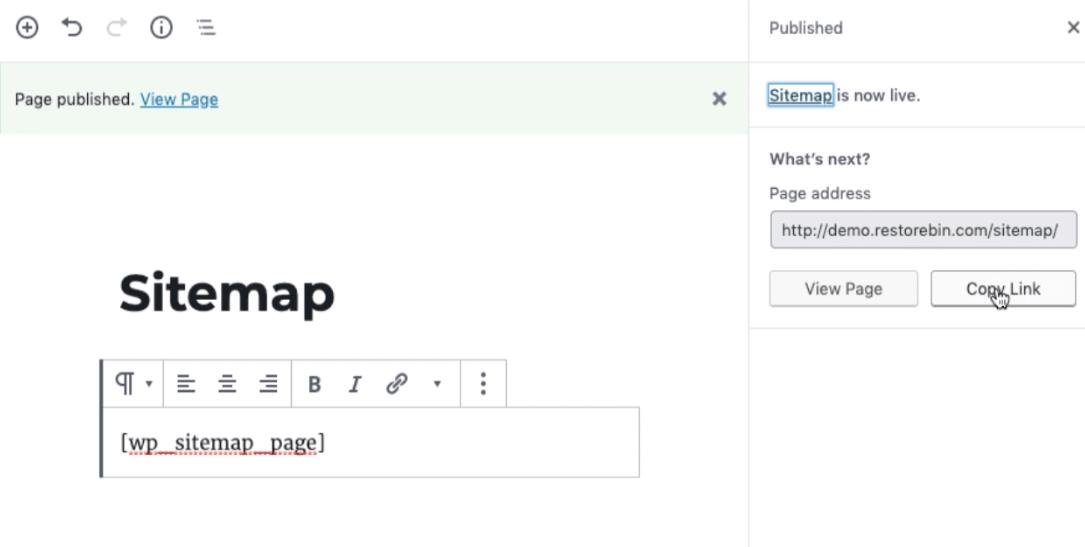 WordPress Sitemap Shortcode