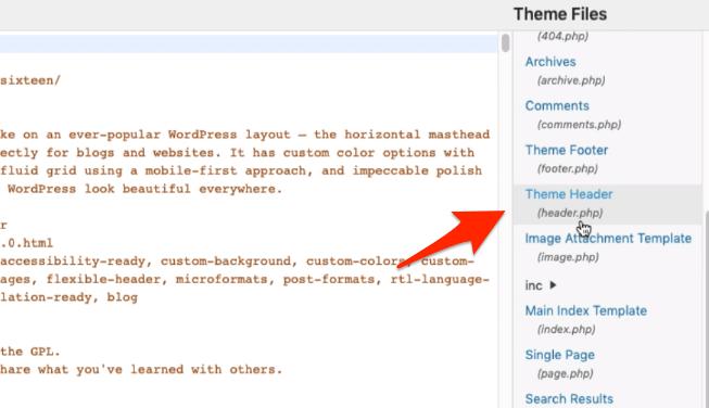 WordPress Theme header.php file location