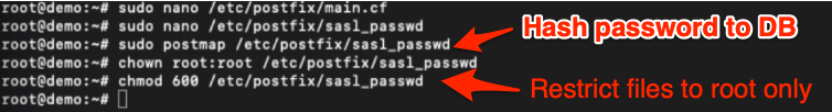 hash password and restrict authentication password to root