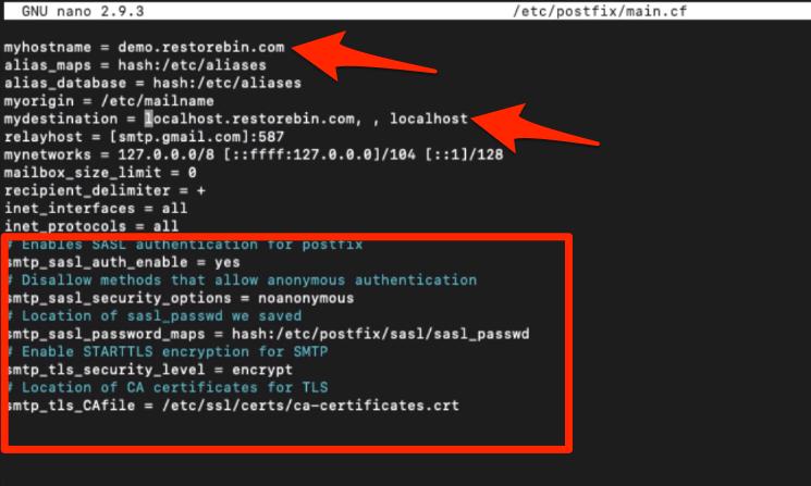 main.cf file changes for postfix SMTP TLS authentication