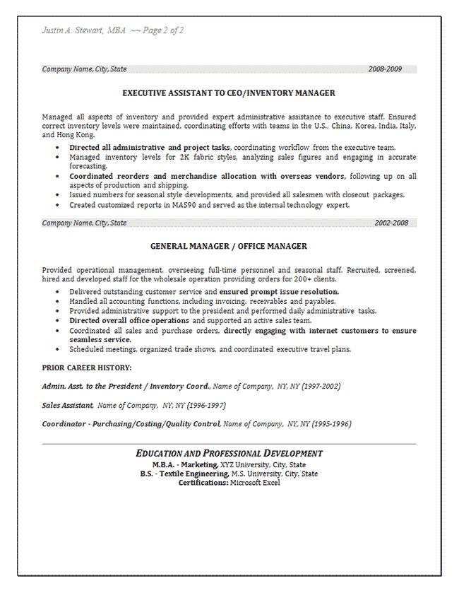 Control Resume Job Inventory