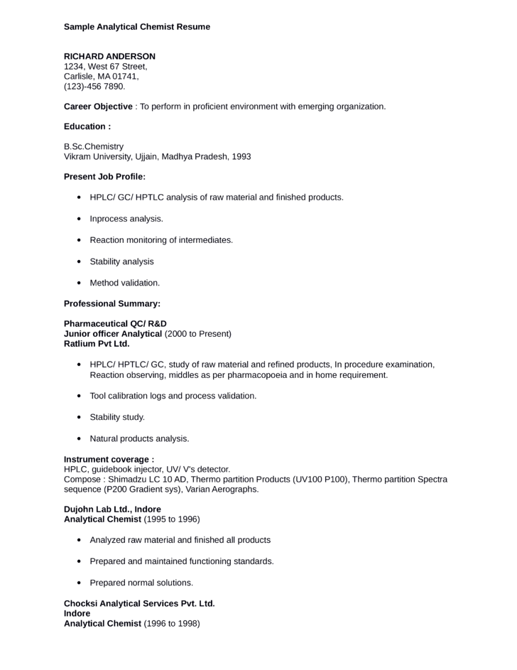 Qc Chemist Resume Examples For Summary