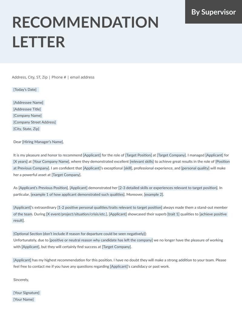 Letters Recomandation Sample