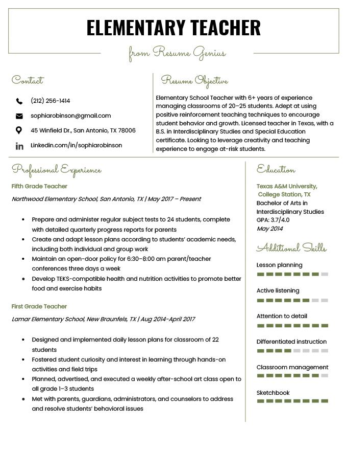 Elementary Teacher Resume Samples Amp Writing Guide Resume