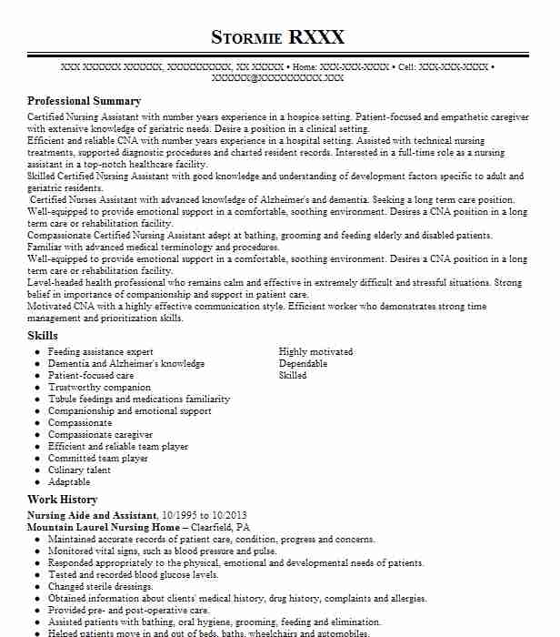 Nursing Aide And Assistant Objectives Resume Objective
