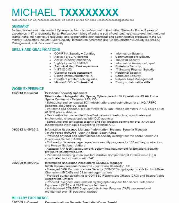 Personal Security Resume