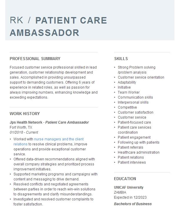 Patient Ambassador Resume Example Hhs Lake Wales Medical