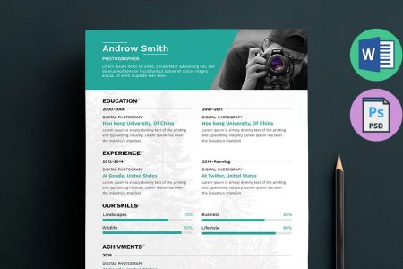 Photographer Resume Template Word  Docx  Doc  PSD Photographer Resume Template Word