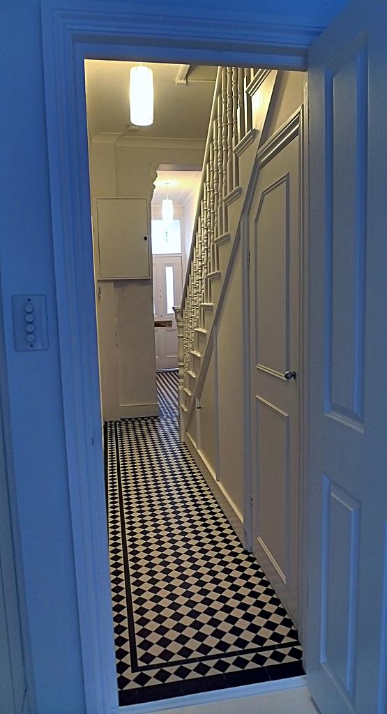 Hallway Black And White Victorian Mosaic Tile Path London