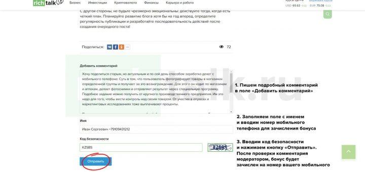 Алгоритм как заработать деньги на телефон с помощью сайта richtalk.ru