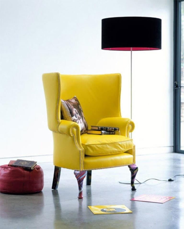 Yellow Tufted Accent Chair
