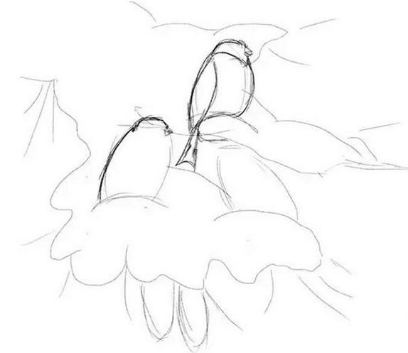 একটি পেন্সিল দিয়ে অঙ্কন bullfinch, শাখা উপর একটি মাস্টার ক্লাস আঁকা কিভাবে + ছবি 3